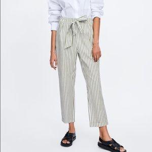Zara striped trousers with tie belt